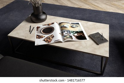 Coffee Table close up with magazine, glasses and notebook, 3d rendering
