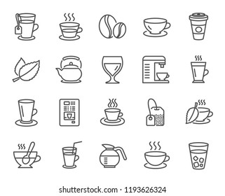 Coffee and Tea line icons. Set of Cappuccino, Juice with ice and Latte signs. Teapot, Coffeepot and Hot drink with Steam. Mint leaf, Herbal beverage and Vending symbols. Quality design element
