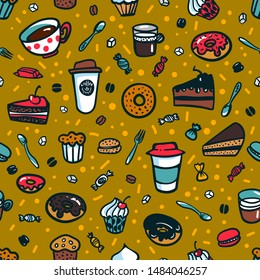 Coffee theme seamless background. Colorful doodle style set of objects on coffee theme. Coffee cups and desserts. Exellent for menu design and cafe decoration. cartoon illustration