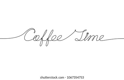 COFFEE TIME handwritten inscription. Hand drawn lettering. alligraphy. One line drawing of phrase.