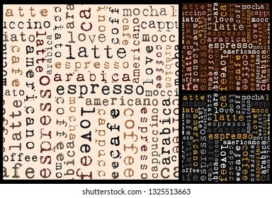 coffee words seamless pattern for cafe
