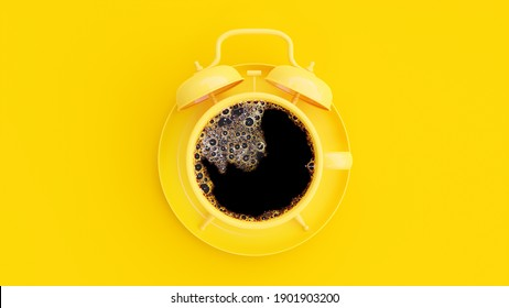 Coffee in yellow cup that look like an alarm clock on a yellow background. Minimal idea concept, 3D Render.
