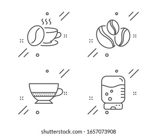 Coffee-berry beans, Bombon coffee and Coffee cup line icons set. Water cooler sign. Cafe bombon, Roasted bean, Office drink. Food and drink set. Line coffee-berry beans outline icon.