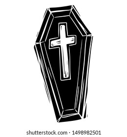 Coffin black and white hand drawn illustration. Spooky Halloween symbol with cross on top. Burial casket, funeral box silhouette, sticker. All saints day celebration postcard design element
