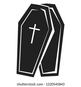 Coffin icon. Simple illustration of coffin icon for web design isolated on white background