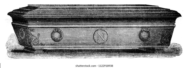 The coffin, vintage engraved illustration. Magasin Pittoresque 1841.