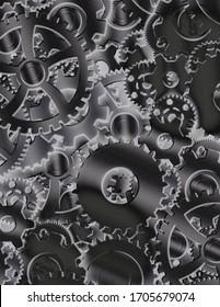 Cog wheels. Clock work mechanism. 3D rendering