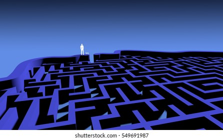 Cognitive psychology abstract concept. The labyrinth of the brain. 3D Rendering.