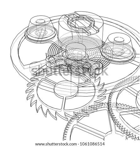 Royalty Free Stock Illustration Of Cogs Gears Clock 3 D Illustration