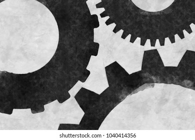 Cogs And Gears Sketch Illustration