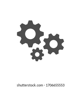 Cogwheel or gear glyph icon isolated on white