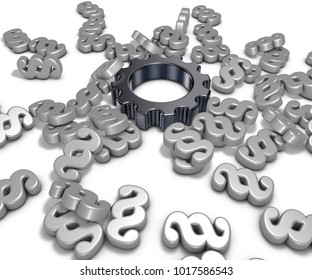 cogwheel and paragraph symbols on white background - 3d illustration