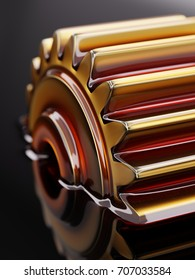 Cogwheel Submerged in Lubricant Oil Closeup Concept 3d Illustration