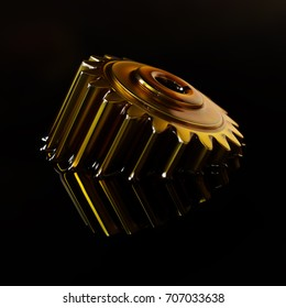 Cogwheel Submerged in Lubricant Oil Closeup Concept 3d Illustration on Black Background