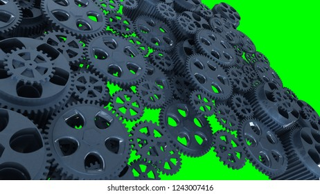 Cogwheels on the green screen motion blur/gloss paint. 3d illustration.
