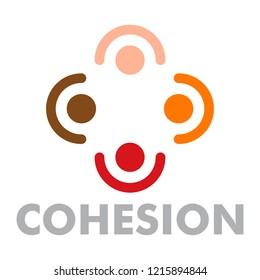 Cohesion logo. Flat illustration of cohesion logo for web design