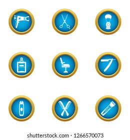 Coiffeur icons set. Flat set of 9 coiffeur icons for web isolated on white background