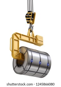 Coil lifter with steel coil and crane hook isolated on white background - 3D illustration