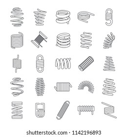 Coil spring cable icons set. Outline illustration of 25 coil spring cable icons for web