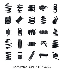 Coil spring cable icons set. Simple illustration of 25 coil spring cable icons for web