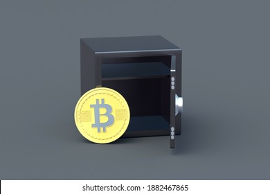 Coin of cryptocurrency bitcoin near strongbox on gray background. Anonymous storage or transfer of money. Secret withdrawal of funds to offshore. Virtual currency deposit. 3d rendering