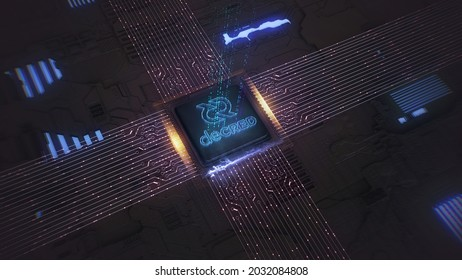 Coin of DECRED on the background of digital circuit. The concept of production or rate of DCR.3d render illustration.
