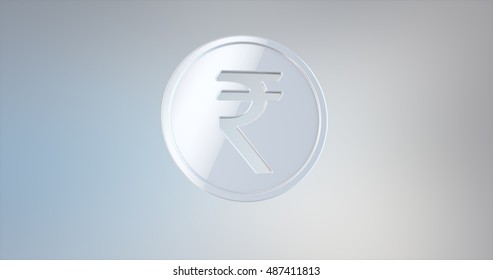Coin Indian Rupee White 3d Icon on gradient background