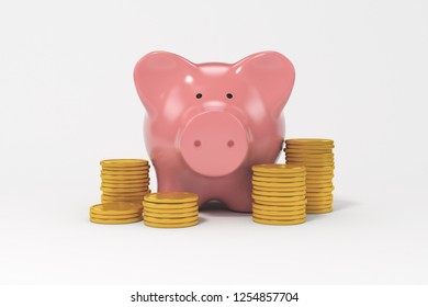 Coin with piggy bank isolated on white background. 3d render