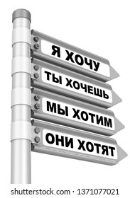 The coincidence of desires. Concept. Road sign with Russian text - I WANT; YOU WANT; WE WANT; THEY WANT. Isolated. 3D Illustration