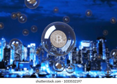 The coins are in bubbles. city blur background. digital finance concept.