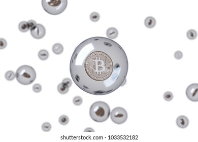 The coins are in bubbles. White background. digital finance concept.