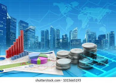 coins and graphs in a blue cityscape background, 3d illustration