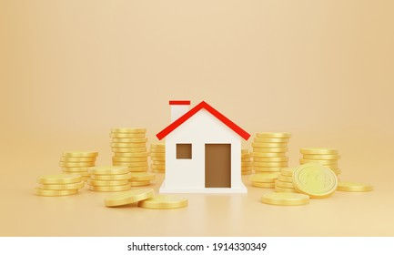 Coins and house with pastel background. Save money business finance for buy home. Investment property concept.3d Rendering for advertisement growth business. Earning profit concept
