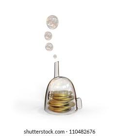 Coins inside glass house