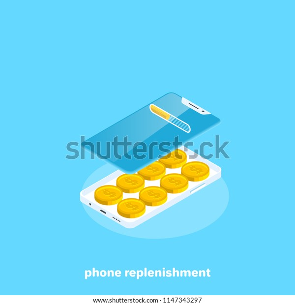 coins lying inside the smartphone, isometric image