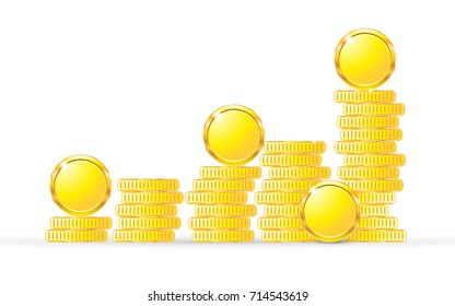 Coins on white background isolated object abstract golden