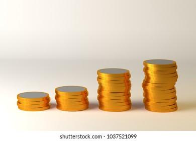 coins stack 3d rander