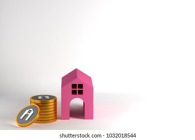 coins stack and house