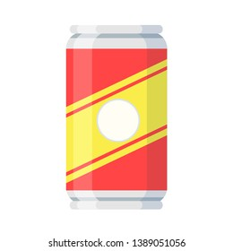 Cola metal can in cartoon flat style on white, stock illustration