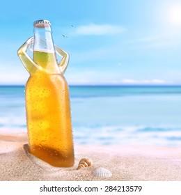 cold beer enjoying a sun