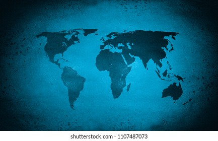 Cold blue rough grunge world map