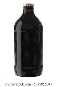 Cold Brew Coffee Bottle. Black and Brown Stubby Bottle. 12oz (11oz) or 355ml (330ml) volume. Realistic 3D Mockup Isolated on White Background Close-Up.