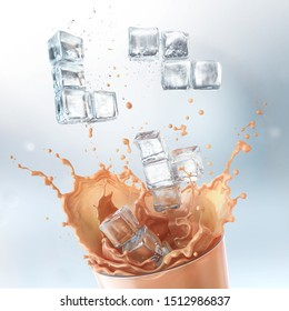 Cold coffee drink splash And ice in the shape of tetris puzzle piece, 3d rendering.