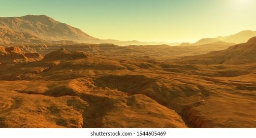 Cold desert on Mars. Martian Landscape, 3d rendering