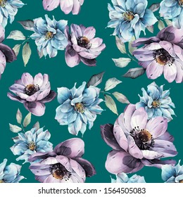 Cold Flowers green pattern - flowers with green background
