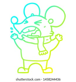 cold gradient line drawing of a cartoon angry mouse