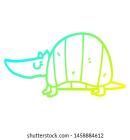 cold gradient line drawing of a cartoon armadillo