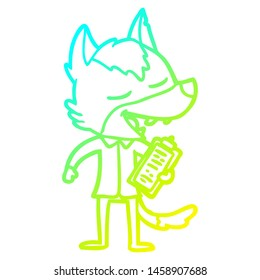cold gradient line drawing of a cartoon saleman wolf laughing