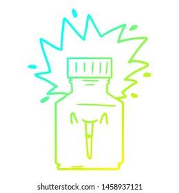 cold gradient line drawing of a cartoon pill jar