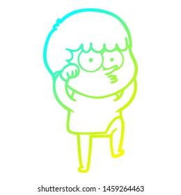cold gradient line drawing of a cartoon curious boy rubbing eyes in disbelief